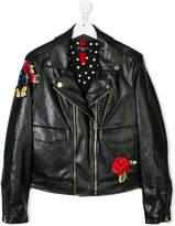 MonnaLisa embroidered biker jacket