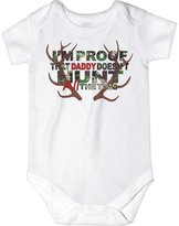 CarefreeTees I'm Proof That Daddy Doesn't Hunt ALL the Time (Baby Boys Bodysuit NB Green Camo)