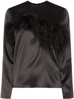 Marques Almeida Marques'almeida feather-trimmed satin blouse