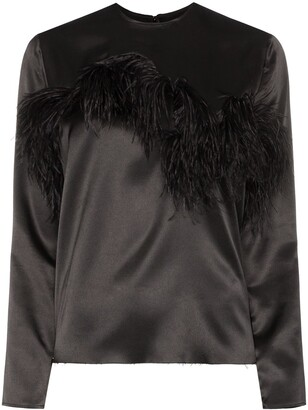 Marques Almeida Feather-Trimmed Satin Blouse