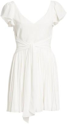 Cinq à Sept Genesis Tie-Waist Pleated Mini Dress