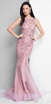 Terani Couture Illusion Sequin Embellished Lace Evening Dress