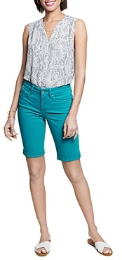 NYDJ Briella Cuffed Denim Bermuda Shorts in Feather