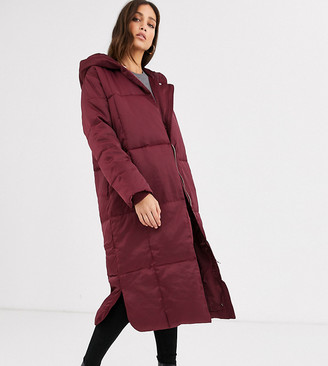 Asos Tall DESIGN Tall longline puffer coat in oxblood-Grey