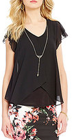 I.N. San Francisco Flutter-Sleeve Overlay Top