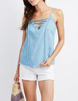Charlotte Russe Chambray Lace-Up Tank Top