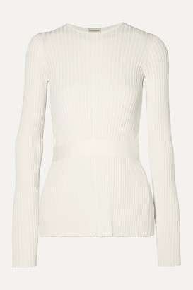 By Malene Birger Geneva Tie-detailed Open-back Ribbed-knit Sweater - White