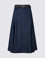 Classic Denim Belted A-Line Midi Skirt