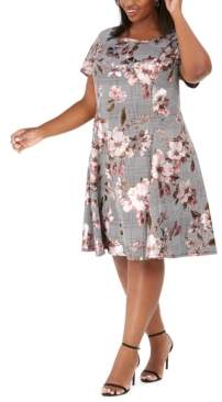 Robbie Bee Plus Size Metallic Floral & Plaid Dress