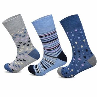 Socksology 3/6 Pairs Womens Bamboo Socks HoneyComb Grip Top Eco-friendly Antibacterial Anti Odor Crew Sock Size UK 4-8 (Blue/Grey Multi Pattern Stripe/Heart/Polka Dot 6 Pairs)