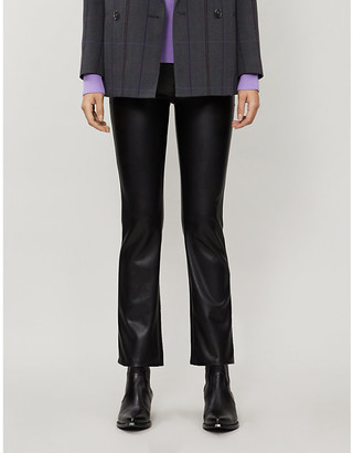 Mother The Insider Ankle flared faux-leather high-rise jeans