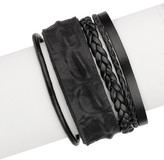 Saachi Black Rumple Leather Strand Bracelet
