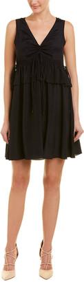 See by Chloe Drawstring Peplum Silk-Blend Mini Dress