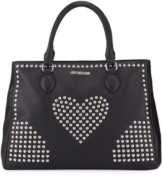 Love Moschino Borsa Studded Heart Faux-Leather Tote Bag