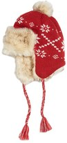 PJ Salvage Women's Sweater Knit Beanie With Faux Fur - Red