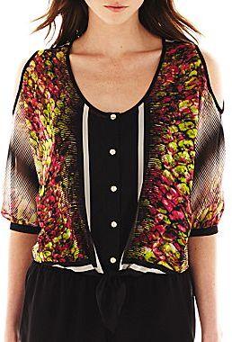 JCPenney Bisou Bisou® Cold-Shoulder Tie-Front Top