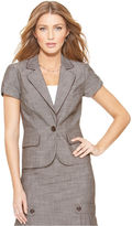 Amy Byer Jacket, Short Sleeve Textured Blazer