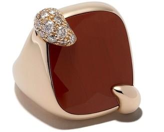 Pomellato 18kt rose gold Ritratto jasper and brown diamond ring