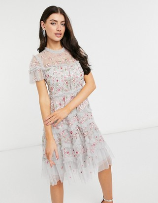 Needle & Thread embroidered cap sleeve ribbon mini dress in crystal blue