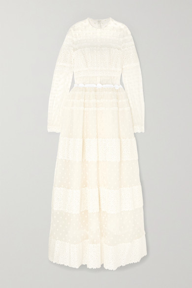 Costarellos Lace-paneled Polka-dot Flocked Tulle Gown - White
