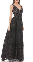 JS Collections Deep V-Neck Floral Embroidered Organza Gown