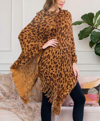 Riah Fashion Women's Shawls BROWN - Brown Leopard Fringe-Hem Poncho - Women