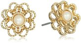 "Carolee Union Square"" White Pearl Pierced Stud Earrings"