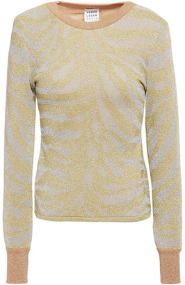 Herve Leger Metallic Zebra-print Stretch-knit Sweater
