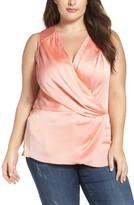 Melissa McCarthy Plus Size Women's Satin Plisse Surplice Top