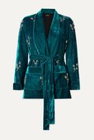 PatBO Belted Crystal-embellished Velvet Blazer - Teal