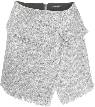 Balmain Asymmetric Tweed Mini Skirt