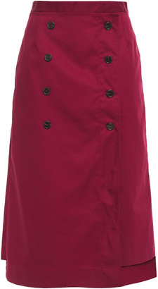 Rokh Button-embellished Twill Midi Skirt