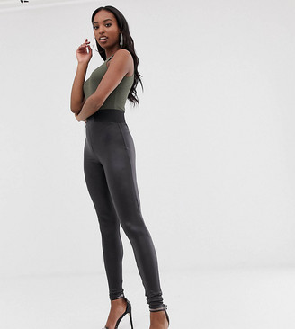 Asos Tall DESIGN Tall leather look leggings with elastic slim waist-Black