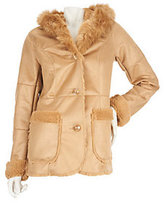 Dennis Basso Distressed Faux Shearling Coat w/Hood and Fur Lining