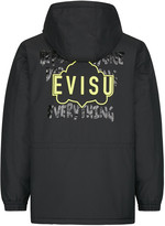 Evisu Padded Coat With Outlined Godhead Print And Embroidery