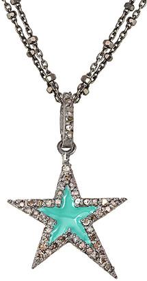 Rachel Reinhardt 0.28 Ct. Tw. Diamond And Turquoise Enamel Star Necklace