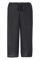 Quiz Curve Black Tie Waist Culotte Trousers