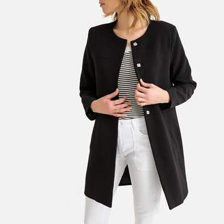 La Redoute Collections Lightweight Collarless Straight Coat with Pockets