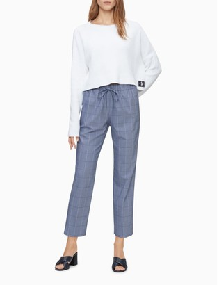 Calvin Klein Modern Ankle Fit Windowpane Chambray Straight Leg Pants