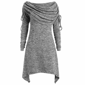 Toamen Women's Coat Toamen Womens Tops Blouse Tunic Sweatershirt Long Sleeve Plus Size Oversized Cotton Ruched Collar Pullover Sweater(Gray 12)