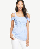 Ann Taylor Cold Shoulder Wrap Top