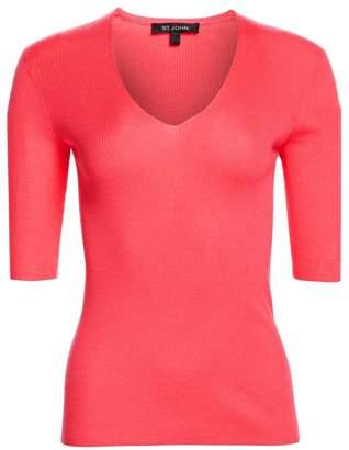 St. John Fine Gauge Rib-Knit V-Neck Sweater