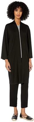 Eileen Fisher Fine Tencel Jersey Kimono Cardigan (Black) Women's Clothing
