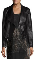Lafayette 148 New York Leah Draped Leather Jacket, Black, Plus Size