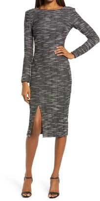 Dress the Population Natalie Front Slit Long Sleeve Stretch Tweed Midi Dress