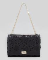 Valentino Girello Large Leather-Lace Shoulder Bag, Black