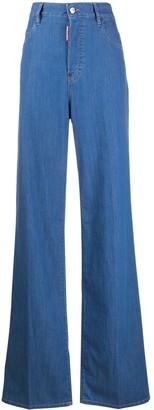 DSQUARED2 High Waist Wide Leg Jeans