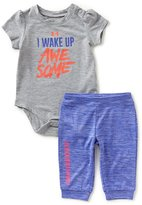 Under Armour Baby Girls Newborn-12 Months I Wake Up Awesome Short-Sleeve Bodysuit & Jogger Pant Set