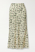 Thumbnail for your product : Rixo Kelly Printed Silk Crepe De Chine Maxi Skirt - Black