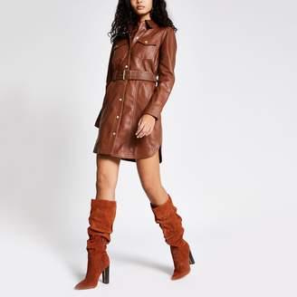 River Island Womens Brown leather long sleeve shirt dress